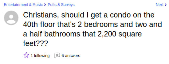 The 7 saddest questions on yahoo answers yahoo answers accommodations 1426 a man shall have no fewer than three bedrooms to improve resale values ccuart Gallery