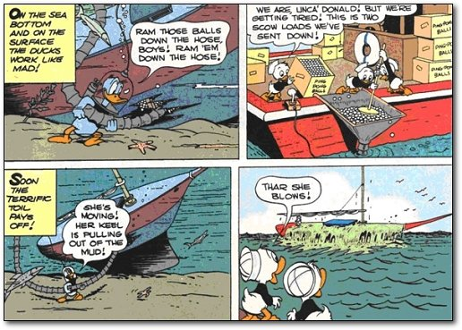 Donald Duck comics where he lifts a sunken ship with ping pong balls.