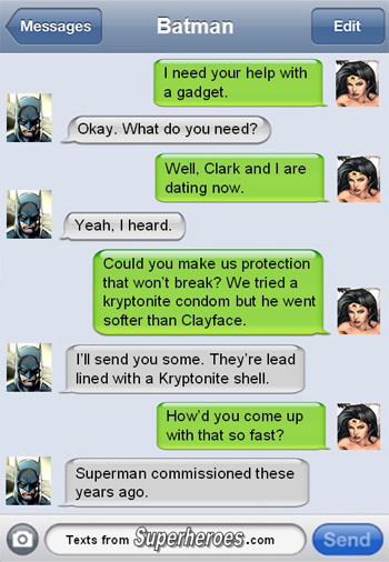 13 Texts from Last Night (from Famous Superheroes)