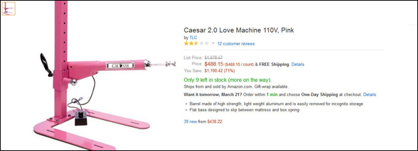 Ridiculous Sex Machines On Amazon With Hilarious Reviews - 20 funniest reviews ever written amazon 6 cracked