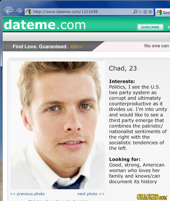 male profile for dating site