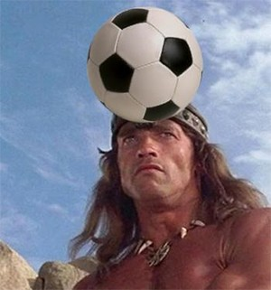 5 Weird Details Of Fictional Universes Nobody Told You - Arnold Schwarzenegger As Conan The Barbarian With A Soccer Ball On His Head