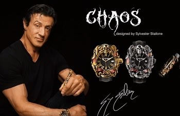 For the word 'CHAOS,' I want an elaborate font that conveys the twisted darkness in my soul.<br> And for 'Designed by Sylvester Stallone'?<br> Arial or something.