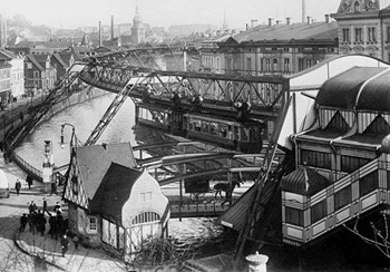 5 Photos Of The Past That Look Like Trippy Fantasy - the suspended train over the River Wupper in the early 1900s