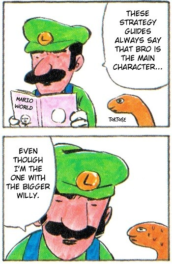 8 Mario Bros. Moments Nintendo Doesn't Want You To See - Luigi from the Super Mario World strategy guide bragging about the size of his willy