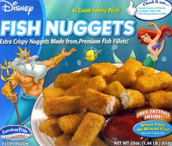 Disney t Chee ouk. 44 Count Family Pack! Prerretes FISH NUGGETS Extra Crispy Nuggets Made from Premium Fish Fillets! TATTOOS FREE INSIDEY LUOKOO FMeD