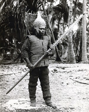5 Photos Of The Past That Look Like Trippy Fantasy - a I-Kiribati warrior with weapons and armor made of sea fauna