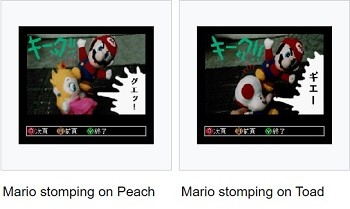 8 Mario Bros. Moments Nintendo Doesn't Want You To See - a scene from the Super Nintendo Satellaview peripheral depicting Peach and Toad having oral sex