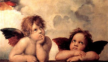 Reminder: Angels In The Bible Were Mind-Melting Horror Beasts - Raphael's cherubs From The Sistine Madonna