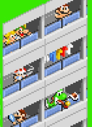 8 Mario Bros. Moments Nintendo Doesn't Want You To See - an old Nintendo file depicting Mario Bros. characters naked in an apartment building