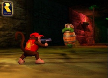 8 Mario Bros. Moments Nintendo Doesn't Want You To See - an old Nintendo 64 scene depicting Diddy Kong with a gun