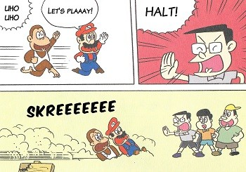 8 Mario Bros. Moments Nintendo Doesn't Want You To See - an old Nintendo comic depicting Mario and Diddy Kong harassing children