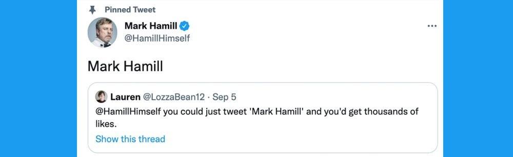 Mark Hamill Tweets 'Mark Hamill,' Breaks The Internet