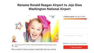 Petition To Rename Washington DC's 'Ronald Reagan Washington Airport' After JoJo Siwa Goes Viral