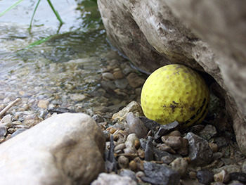 Nothing breaks 'em in like six months of <a href=http://www.golf.com/tour-and-news/divers-make-living-diving-used-golf-balls-golf-courses target=_blank>mud, poison, and alpha predators</a>.