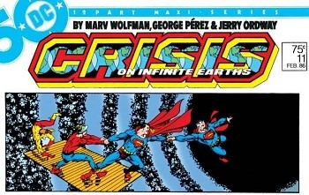 Behold, The Evidence That DC's Future Movie Plans Are Bonkers - A comic cover for Crisis on Infinite Earths starring multiple Supermen