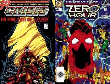 Behold, The Evidence That DC's Future Movie Plans Are Bonkers - comic covers for Crisis and Zero Hour, two DC Comics that deal with the multiverse