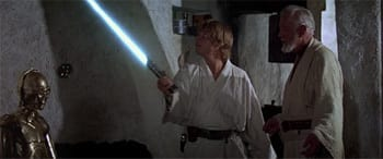 Obi-Wan was hoping Luke would lose control and decapitate that golden jerk in the corner.