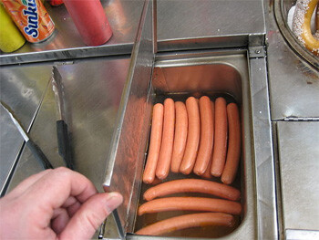 hot dogs in heated water