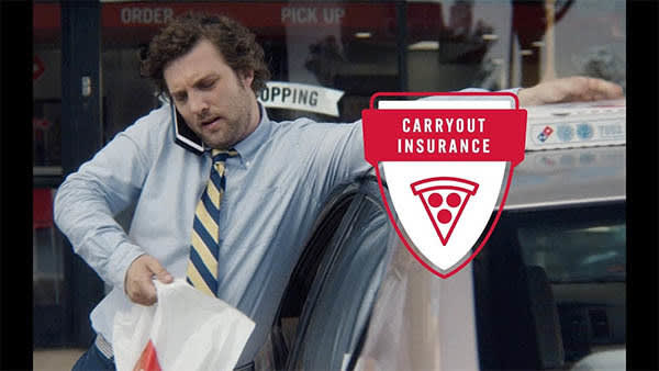 CARRYOUT INSURANCE!? Hey, boss? Yeah, I just found a loophole that gives me unlimited floor pizza. So what I'm saying is <i>you can kiss my ass.</i>