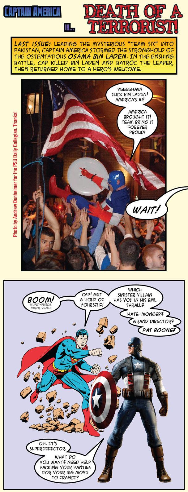 Superman & Captain America ponder bin Laden's death
