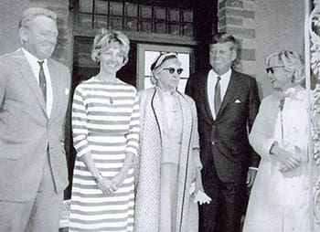 Right to left: Meyer, JFK, and three other JFK lovers.