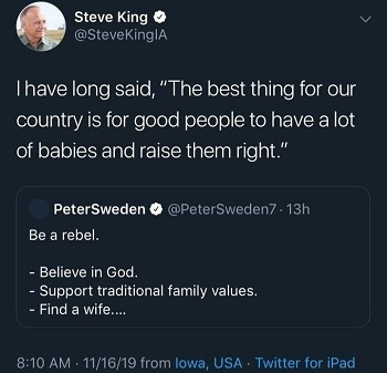 Be a rebel: Spout the exact same shit your racist-ass great-grandpa did while he beat your great-grandma.