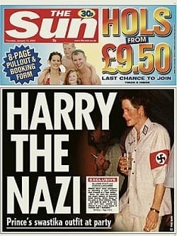 Suin THE 30p HOLS 9.50 FROM 8-PAGE & PULLOUT BOOKING FORM LAST CHANCE TO OU HARRY THE GF NAZI 111 Prince's swastika outfit at party