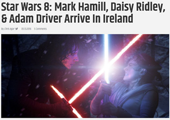 star Wars 8: Mark Hamill, Daisy Ridley, 8 Adam Driver Arrive In Ireland AY V TL20S Scomrees