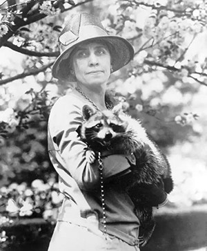 Grace Coolidge with her pet raccoon.