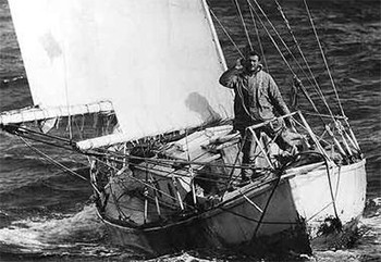 The Amazing Around-The-World Race (That Drove Contestants Mad) - Robin Knox-Johnston on a boat on the ocean