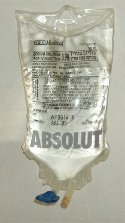5 Medical Procedures From 30 Years Ago (That Now Seem Barbaric) - an IV bag full of Absolut Vodka
