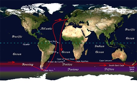 The Amazing Around-The-World Race (That Drove Contestants Mad) - a map of the world showing the 1968 around-the-world solo sailing race routes