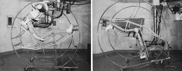 5 Medical Procedures From 30 Years Ago (That Now Seem Barbaric) - a somersault chair that was used to X-Ray human brains