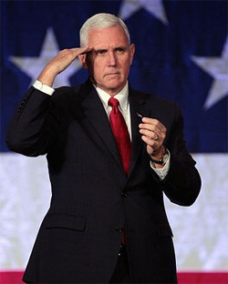 Governor Mike Pence speaking with supporters at a campaign rally at the Mesa Convention Center in Mesa, Arizona.