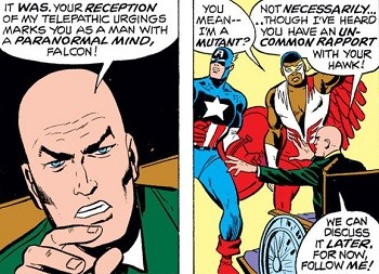 Professor X telling Falcon he is a mutant