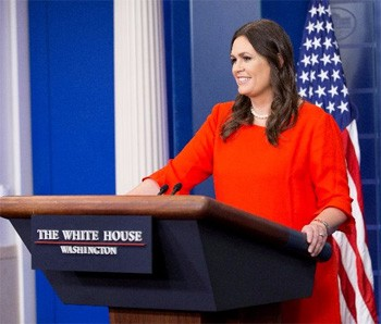 5 Huge Scandals That Now Seem Pretty Dumb In Retrospect Sarah Huckabee Sanders at the White House lectern