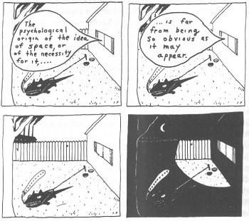 """5 Famous Folks You Had No Clue Were Comics Nerds - a panel from David Lynch's comic """"The Angriest Dog In The World"""""""