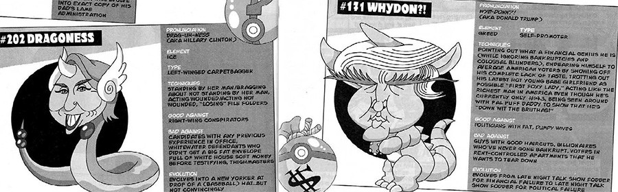 5 Huge Scandals That Now Seem Pretty Dumb In Retrospect a Mad magazine illustration depicting Hilary Clinton and Donald Trump as Pokemon