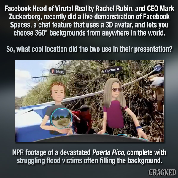 Zuckerberg's VR Tour Of Puerto Rico Proves He's An Alien