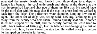 separated the master leash and handed over three dogs to a deputy. Rambo lay beneath the cool underbrush and aimed at the three that the man in green