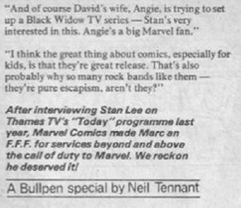 5 Famous Folks You Had No Clue Were Comics Nerds - an anecdote describing how Neil Tennant and Marc Bolan once nerded out about Stan Lee