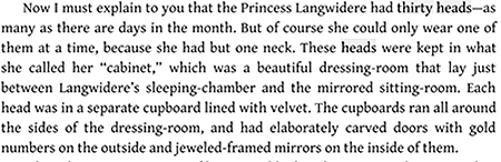 Now I must explain to you that the Princess Langwidere had thirty heads-a many as there are days in the month. But of course she could only wear one o
