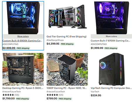 For example, very few of Etsy's ample selection of gaming PCs look hand-crocheted.