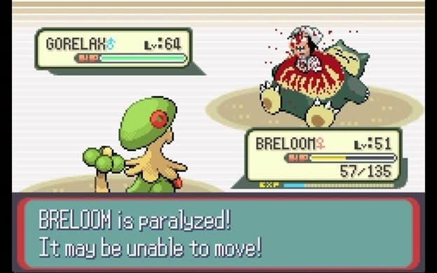GORELAH Ly :64 ILA BRELOOM :51 57, 135 1C3 BRELOOM is paralyzed! It Tay be unable to move!