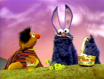 4 Things I Learned Working With Rip-Off Muppets - Ernie and Cookie Monster dressed up like the Easter Bunny on Sesame Street