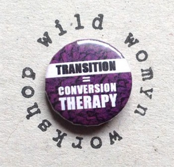 Why Are British Celebs Such Complete Jerks To Trans People? - a button that equates gender transitioning with conversion therapy