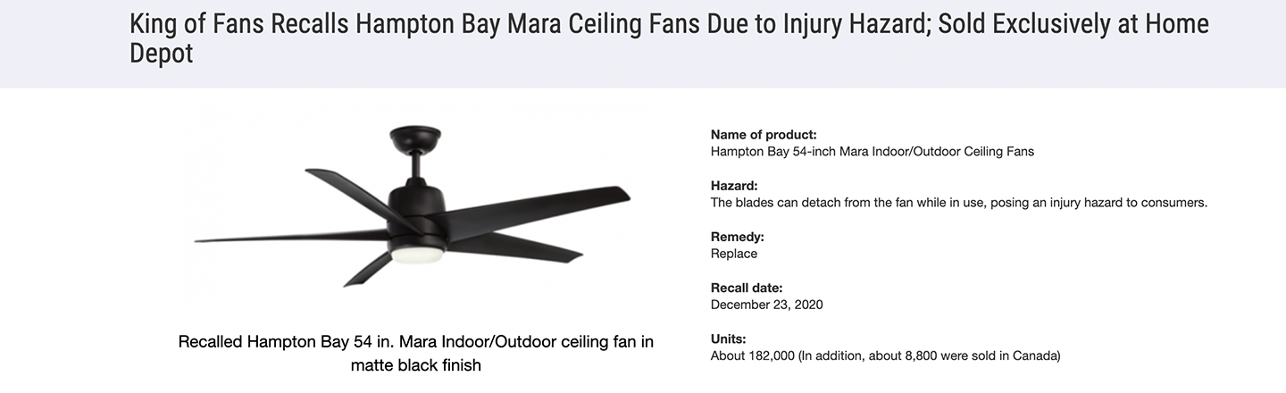'Home Depot' Ceiling Fans Recalled As Blades Keep Flying Off, Smacking People