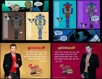 5 Forgotten Times Marvel and DC Trolled Each Other Hard - a Batman comic with a large Twix ad featuring Nick Lachey