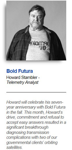 ADiOmar 70: Bold Futura Howard Stambler - Telemetry Analyst Howard will celebrate his seven- year anniversary with Bold Futura in the fall. This month